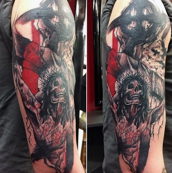 Jesus On The Cross Trash Polka Guys Arm Tattoos