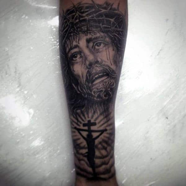 Jesus On The Cross With Portrait Male Forearm Sleeve Tattoo Design Inspiration