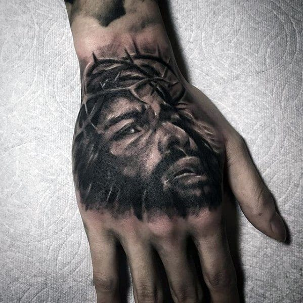 Jesus Portrait Unique Hand Tattoo Ideas For Males