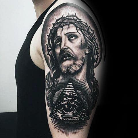 Jesus Portrait With Eye Of Providence Guys Arm Tattoo