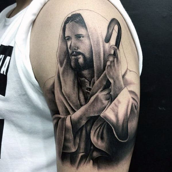 Jesus Shepherd Male Arm Tattoo Ideas