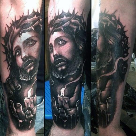Jesus Thorns And Candle Christian Tattoos For Men