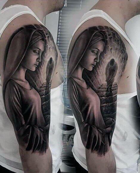 Jesus Walking Up Stairs To Heaven Mens Virgin Mary Half Sleeve Tattoos