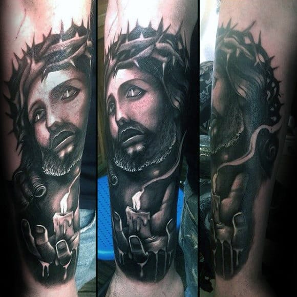 Jesus With Crown Of Thorns And Melting Candle Mens Outer Forearm Tattoo