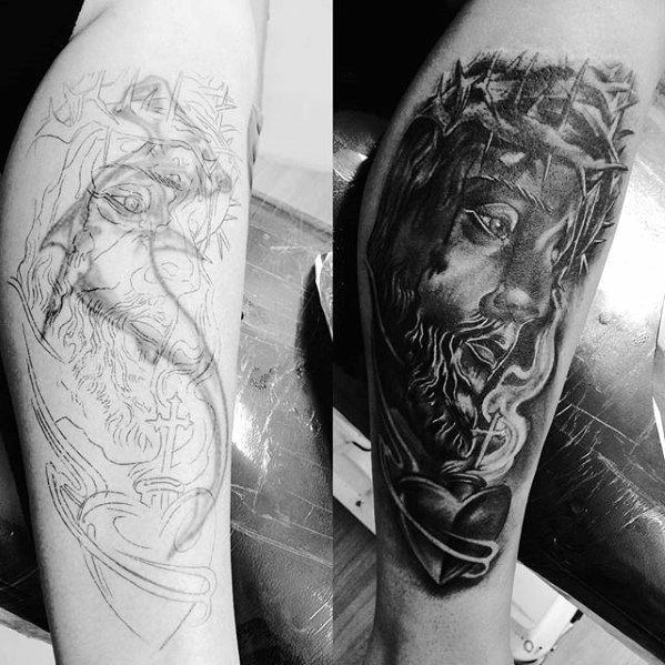 Jesus With Eternal Heart Guys Tattoo Cover Up Arm Ideas