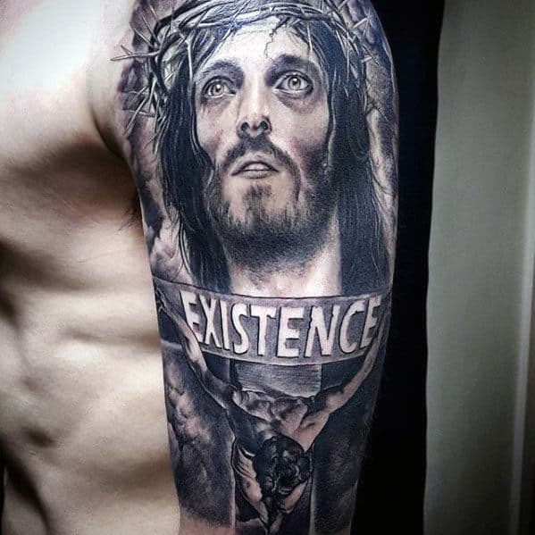 Jesus With Existence Banner Guys 3d Realistic Half Sleeve Tattoo
