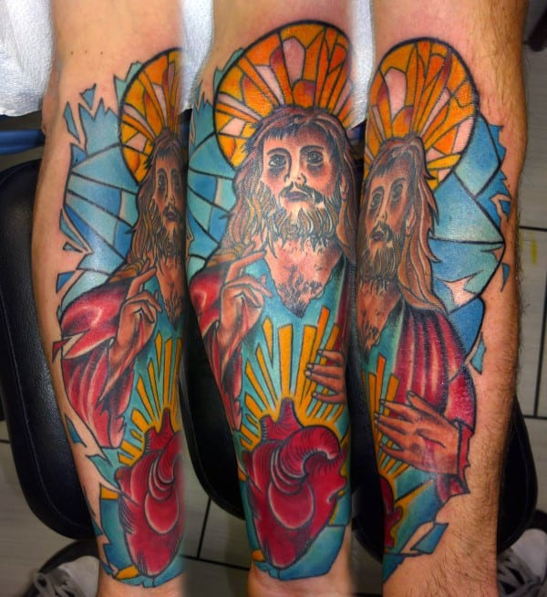 Jesus With Heart Stained Glass Mens Forearm Tattoo Sleeves