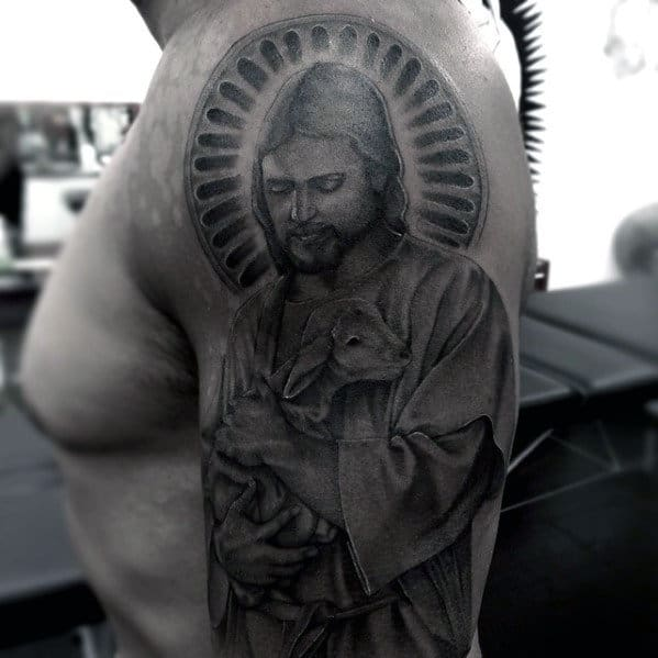 Jesus With Lamb Guys Catholic Religious Arm Tattoo