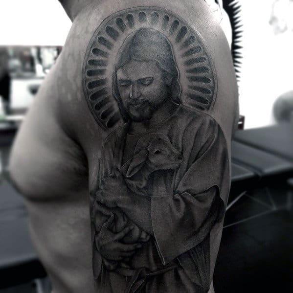 Jesus With Lamb Guys Catholic Religious Arm Tattoo