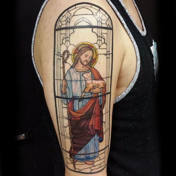 Jesus With Lamp Stained Glass Mens Upper Arm Tattoo