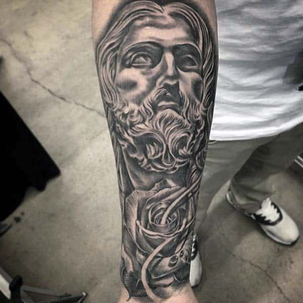 Jesus With Rose Flower Mens Nice Inner Forearm Tattoo Ideas