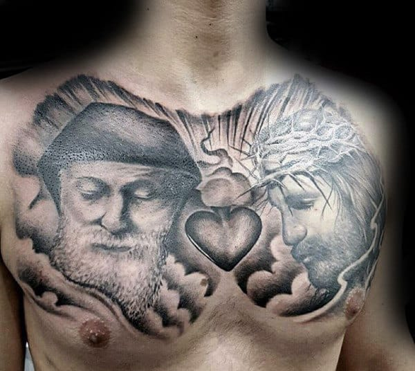 Jesus With Sacred Heart Male Clouds Chest Tattoo