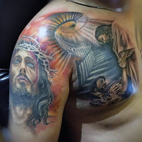Jesus With Stairs To Heaven Arm And Chest Tattoos For Guys