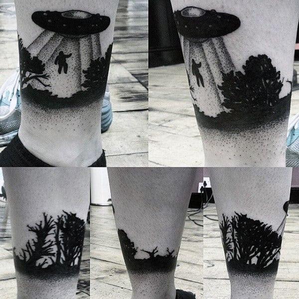 Jet Black Dotted Ufo Tattoo Guys Lower Legs