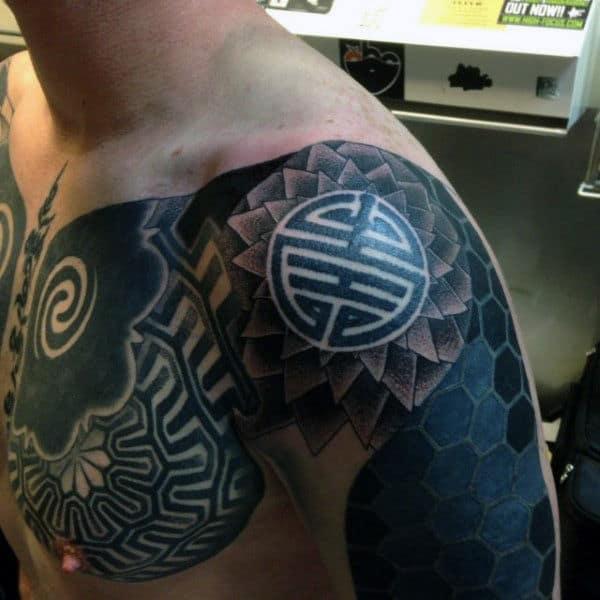 Jet Black Interesting Tattoo Mens Shoulders