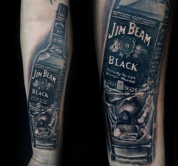 Jim Beam Mens Detailed 3d Bottle Tattoo On Forearm
