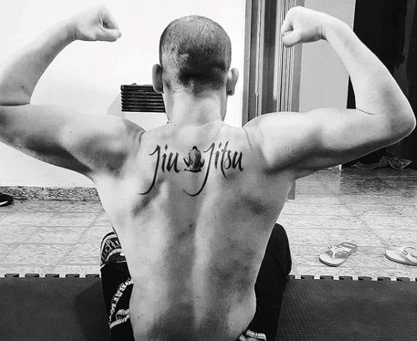 Jiu Jitsu Lettering Male Upper Back Tattoo Inspiration