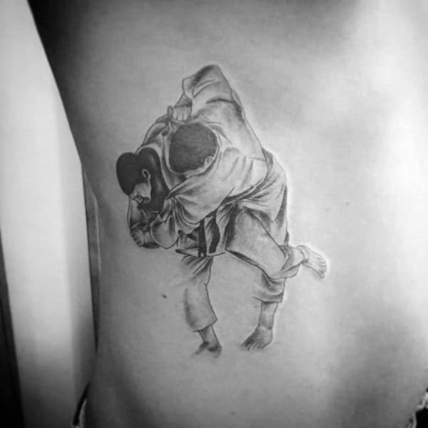 Jiu Jitsu Male Rib Cage Shaded Tattoo Designs