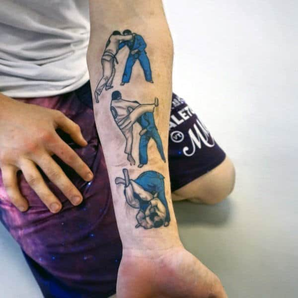 Jiu Jitsu Moves Mens Inner Forearm Tattoo Designs