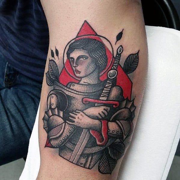 40 Joan Of Arc Tattoo Designs For Men - Saint Ink Ideas
