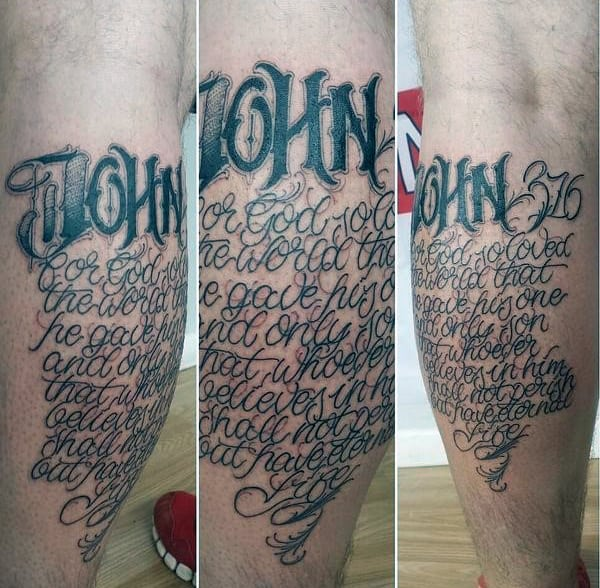 John 316 Script Mens Leg Calf Tattoo Designs