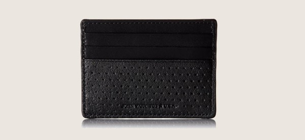 John Varvatos Star USA Perforated Leather Minimalist Wallet For Men