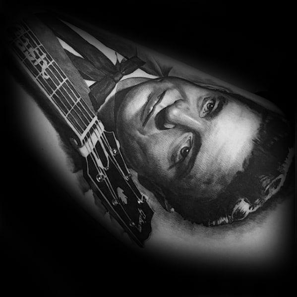 Johnny Cash Guitar Leg Tattoos Guys