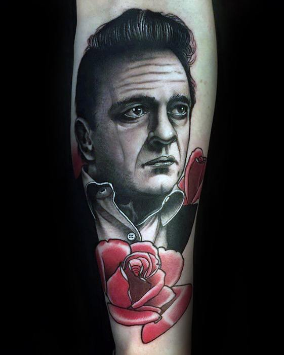 Johnny Cash With Red Rose Flowers Inner Forearm Tattoo Design Ideas For Males