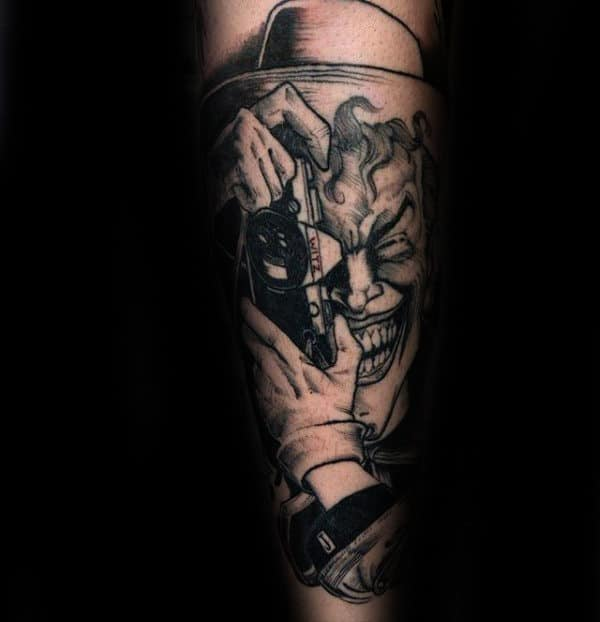 Joker Camera Mens Inner Forearm Tattoos