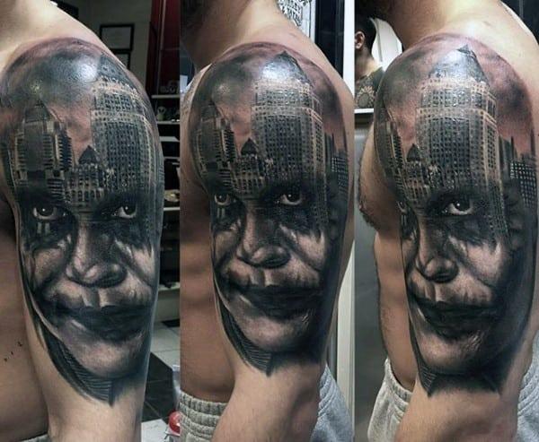 Joker Face With City Skyline Male Half Sleeve Tattoo