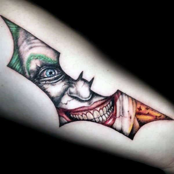 Joker Inside Batman Symbol Guys Outer Forearm Tattoos