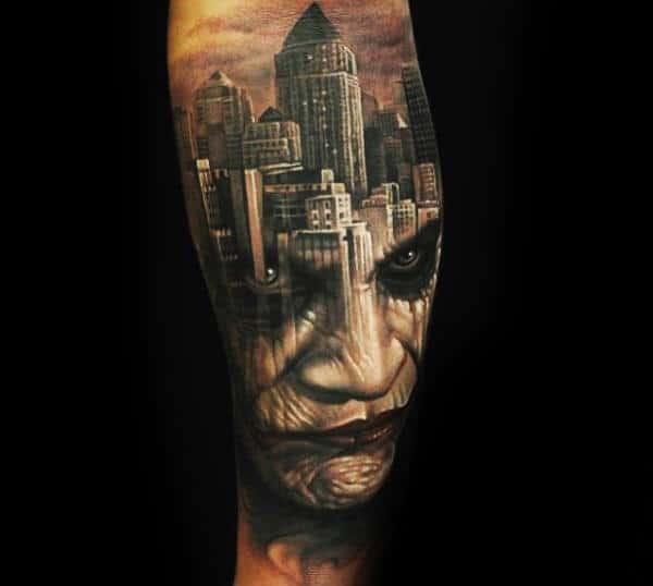 Joker Portrait With Background Of City Skyline Guys Leg Tattoos