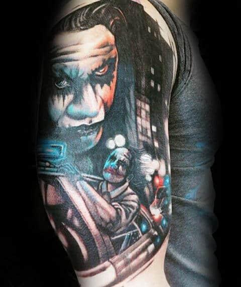 Joker Riding On Police Car Mens Half Sleeve Tattoos