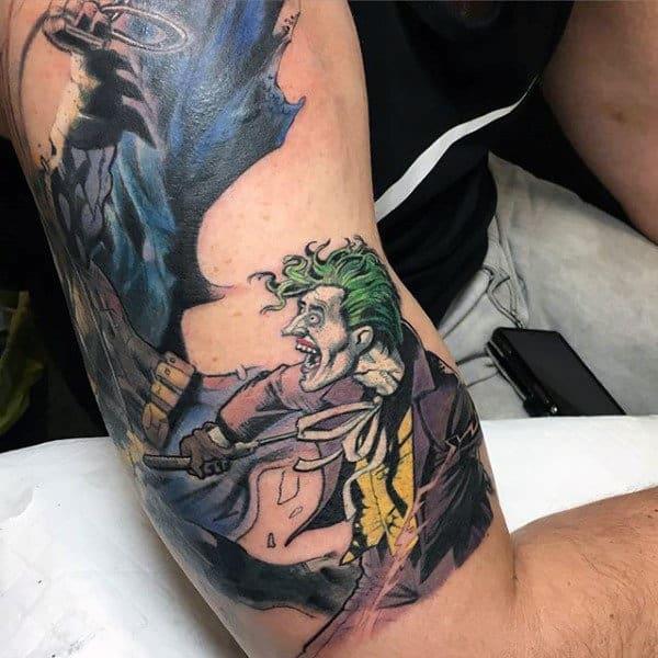 Joker Verses Batman Mens Bicep Tattoos