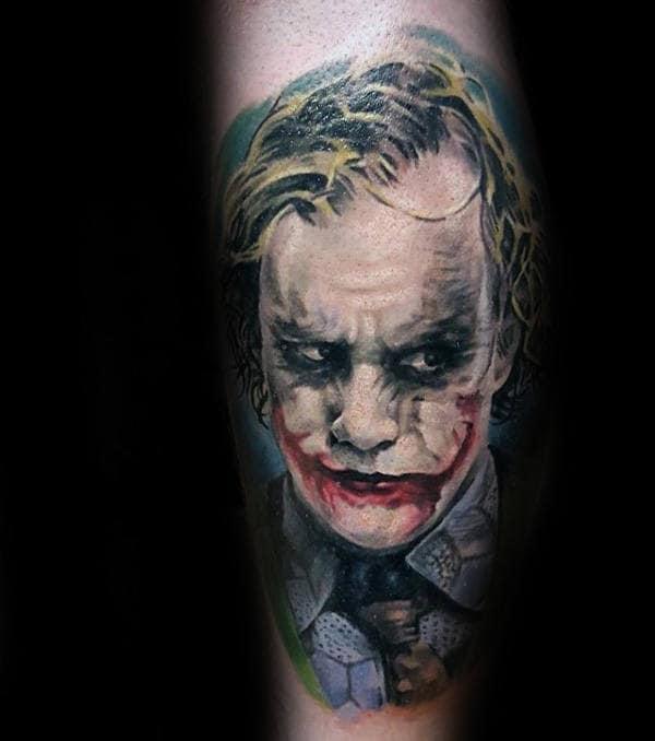 Joker Wearing Tie Mens Leg Tattoo