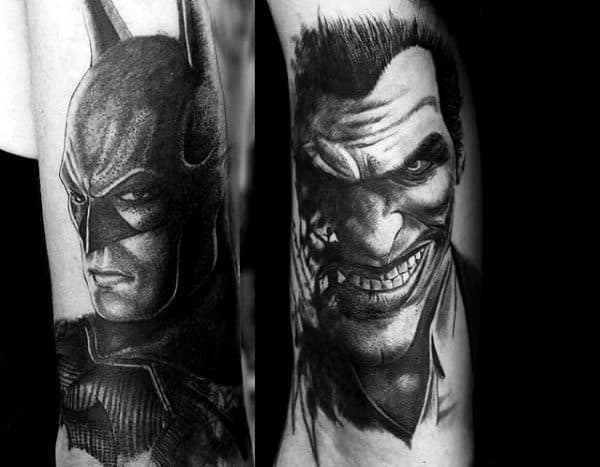 Joker With Batman Guys Tattoos On Both Forearms