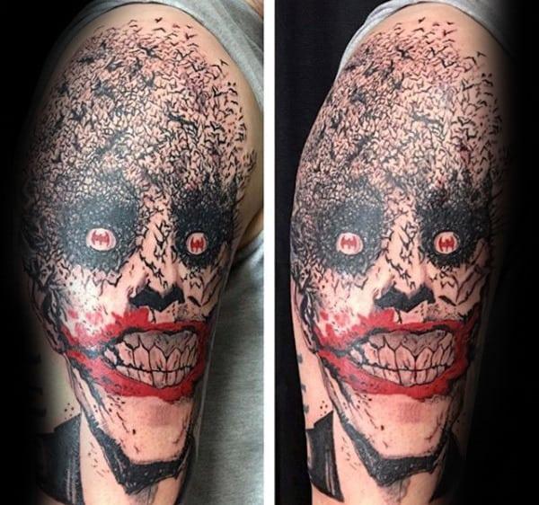 Joker With Bats Mens Arm Tattoo Deisgns