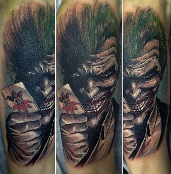 Joker With Card Mens Arm Tattoos