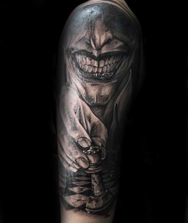 Joker With King Chess Piece Mens Half Sleeve Tattoo