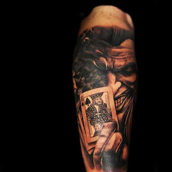 Joker With Playing Cards Male Sleeve Tattoos