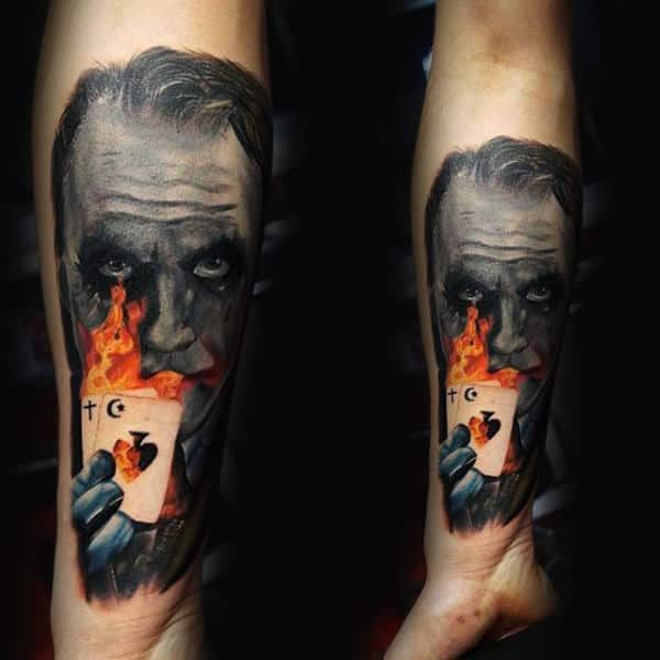 Joker With Playing Cards On Fire Mens Tattoos