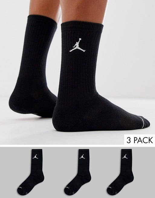 jordan 3 pack socks in black