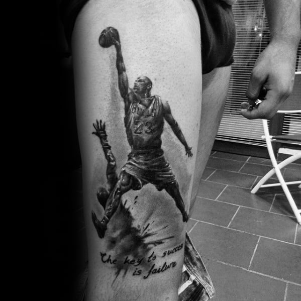 Jordan Dunking Watercolor Mens Thigh Tattoos
