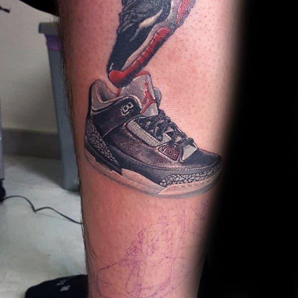 Jordan Shoes Guys Leg Tattoo Design Ideas