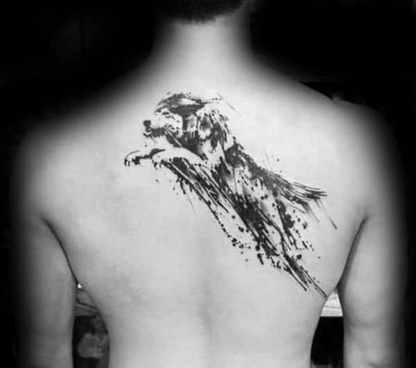 Jumping Wolf Watercolor Tattoo Ideas On Guys On Back