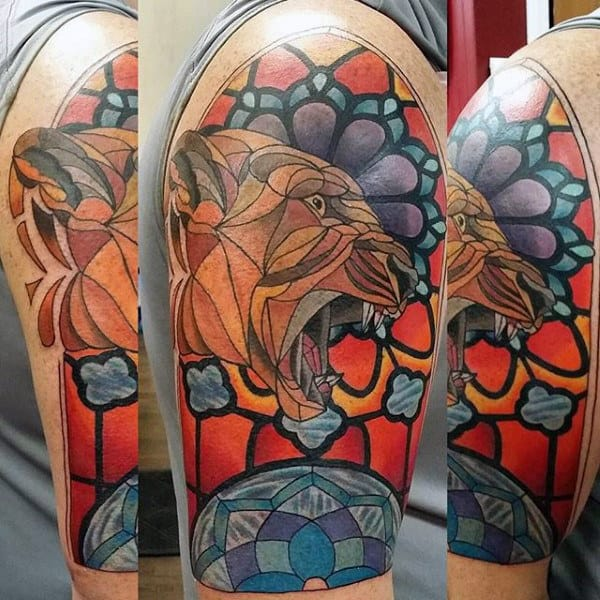 Jungle Cat Stained Glass Mens Half Sleeve Tattoos