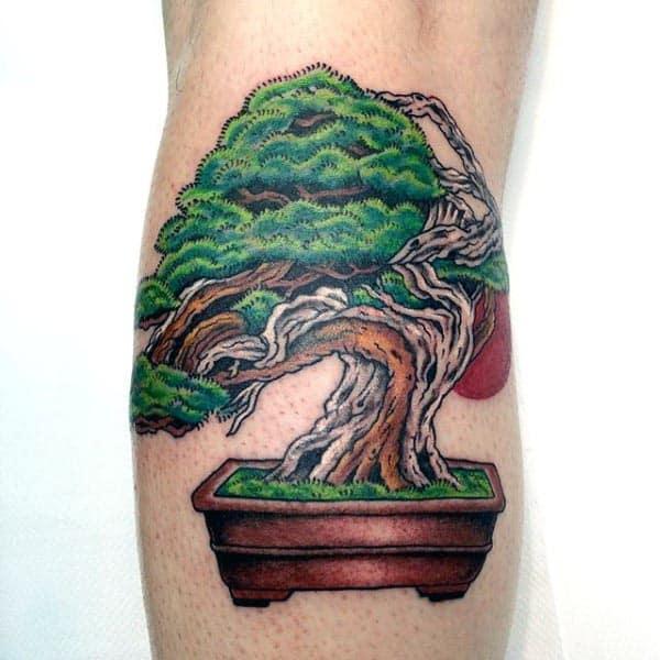 Juniper Bonsai Tree Mens Leg Calf Tattoo