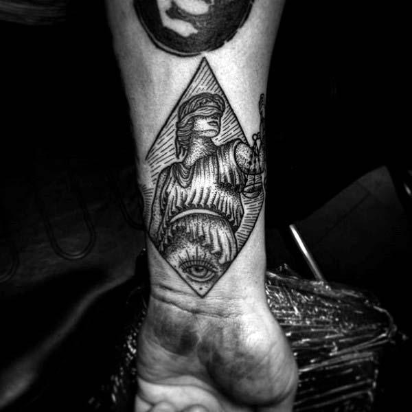 Justice Woodcut Mens Wrist Tattoos