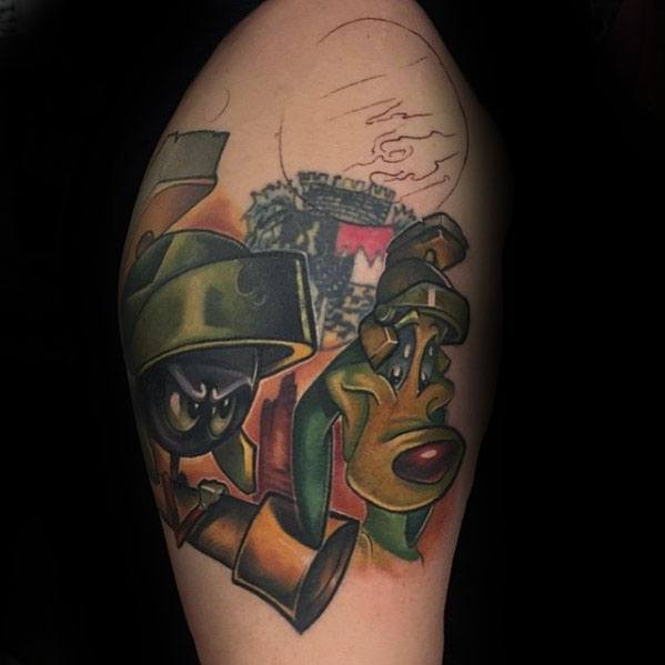 K 9 Dog With Marvin The Martian Male Upper Arm 3d Tattoos