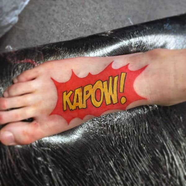 Kapow Mens Foot Pop Art Tattoo